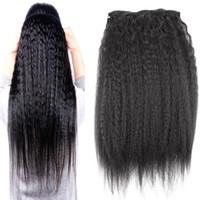 doğal remy insan saç uzantıları toptan satış-Klip İnsan Saç Uzantıları Doğal Brezilyalı Remy Saç Sapıkça Düz Klip-ins 10 adet 100G kaba yaki İnsan saç uzantıları klip