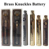 древесина сигаретных батарей оптовых-Brass Knuckles Vape Батарея 650mAh 900mAh Разогреть Vape ручки 510 Батарейки темы Variable Voltage E-Cigarette батареи комплекты Gold Silver Wood