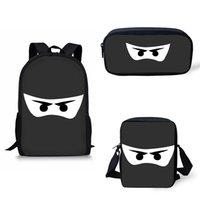 ninja taschen großhandel-Rucksack Schultaschen für Jungen Mädchen Schwarz Weiß Dunkelheit Ninja Eyes Maskendruck Schultaschen Jugendliche Druck Bagpack Satchel