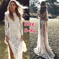 elmas taklidi elbisesi gelinlik toptan satış-Yeni Şifon Dantel Backless Kat Uzunluk Gelinlik Seksi Çiçek Perspektif Çar Elbise Uzun Etek Plaj Seyahat Çekim Gelinlik