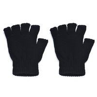 новые пароли оптовых-Casual Autumn Winter Men women Gloves Black Knitted Stretch Elastic Warm Half Finger Fingerless Gloves Mittens Male