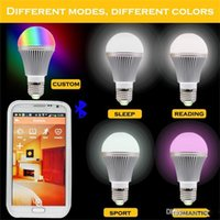 Wholesale smart light bulbs resale online - High Bright RGB Wireless Bluetooth Smart LED Light Bulb E27 W RGBW Bulb for Android and for iOS AC85 V