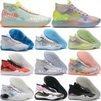 yüksek kaliteli kd ayakkabı toptan satış-Yeni KD 12 EYBL ULUSALLARı PEACH JAM GÜN BIR ONE Renkli kd12 Erkek Basketbol Ayakkabıları için Yüksek kalite Spor Sneakers Erkek Eğitmenler