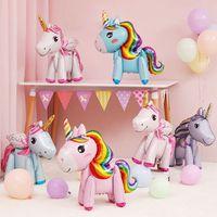jouets en aluminium achat en gros de-Mignon 3D Licorne Ballons De Bande Dessinée De Mode En Aluminium Film De Décoration De Fête D'anniversaire pour Enfants Jouet Fête Des Animaux Décoration Cadeau TTA940