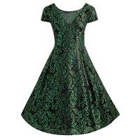 Wholesale free rockabilly online - Women Plus Size Jacquard Lace Midi Rockabilly Dress XL XL Elegant Office Work Dress Colors Ball Gown