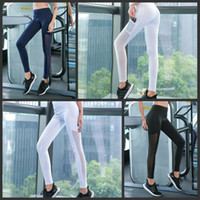 Wholesale hottest women yoga pants online - Four Season High Waist Trousers Splicing Gauze Running Pant Women Dance keeping body Yoga Outfits Hot Style jxH1