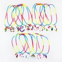 pendentif 5cm achat en gros de-Animal de bande dessinée multicolore Silicone collier licorne mignonne 5cm pendentifs nuque dentelle 41cm filles jouets mignons parti performance concert spectacle accessoires B1