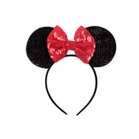 Wholesale hair band for babies girl for sale - Group buy New style sequins big bow hair accessories Baby Mickey ear modeling hoop sequin Hair Band Accessories for Women Girls Cosplay Party