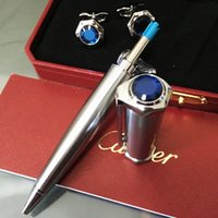 Wholesale roller flats resale online - Fashion Limited edition series flat head metal pen crystal Roller Ball Pen luxury pen box and cufflink