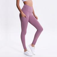 8b042b29c49698 LU-01 Pantaloni da yoga a vita alta non visti attraverso la vita alta  Pantaloni sportivi da palestra in nero solido Leggings da allenamento  Elastic Fitness ...