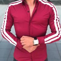 armee grüne brautkleider großhandel-UK Coole stattliche Männer Casual Formelle Hemden Business Hemden Hochzeit Langarm Dünne Tops Schwarz Weiß Armee Grün Rot Hemd # 389150