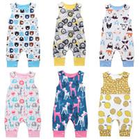 baleias bebê venda por atacado-Macacão de bebê 14 projetos verão sem mangas leões limão cão urso baleia impresso menino meninas recém-nascido infantil crianças roupas de verão macacão 0-2 t 04
