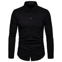 herren schwarze hemdtasche großhandel-Mens Schwarz Casual Shirts 2019 Brand New Slim Fit Langarmhemd Männer Tasche Business Arbeitshemd Camisa Social Masculina
