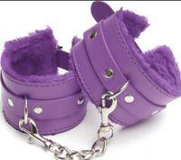 bondage für sex großhandel-Leder pelzigen Handschellen Produkt Spielzeug Sex andcuffs Bondage Fetisch Manschetten für Paare Sex Vergnügen verwenden