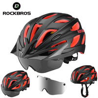 Wholesale magnetic bicycle for sale – best ROCKBROS Bike Helmet Magnetic Goggles Bicycle Helmet Men Women Cycling Helmets with UV Sun Lens Visor Brim MTB Safety Protect