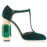 elbise mücevherleri için kayış toptan satış-Yapay elmas Elmas mücevher Topuk Kadife Mary Janes Chunky Kristal Topuk Kadın Ayakkabı T-kayışı Ayakkabı Kadınlar Partisi Gelinlik Ayakkabı Pumps