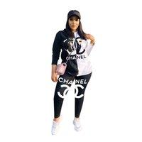 sıkı kadın tişörtü toptan satış-Marka Tasarımcısı Kadın 2 Parça Set Hoodies + Tayt Kıyafetler Uzun Kollu Gömlek + Tayt Eşofman Tee Üst + Bodycon Pantolon Koşu Suit 1330