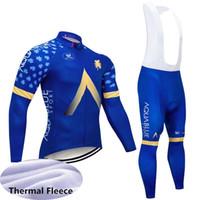 зимняя синяя форма оптовых-2019 Aqua Blue Team велоспорт Джерси комплект MTB Велосипед рубашка нагрудник брюки костюм зимний тепловой флис с длинным рукавом Велосипед Одежда спортивная форма Y0402
