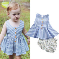 Wholesale toddlers girls clothes for sale - Infant Toddler Kids Baby Girls Summer Outfit Cotton Striped Sleeveless Tops Dress Floral Short Pants Girls Clothes Sunsuit Y