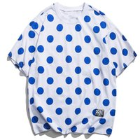 Wholesale white polka dot shirt men for sale – dress Polka Dot Print T Shirt Men Summer Casual Short Sleeve Fashion Harajuku Streetwear Cotton T shirts Harem Tops Tees