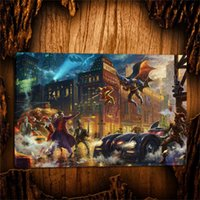 Wholesale kinkade art resale online - Thomas Kinkade The Dark Knight Saves Gotham City Canvas Prints Wall Art Oil Painting Home Decor Unframed Framed
