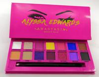 красные палитры оптовых-2019 Eye Makeup Alyssa Edwards Rose Red Eye Shadow Palette 14 цветов матовая прессованная палитра теней для век с кистью для макияжа от epacket