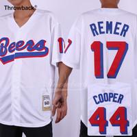 bier trikot großhandel-Joe Cooper Jersey # 44 Doug Remer # 17 Bier-Film-weiße BaseballJerseys Größe S-3XL Freies Verschiffen