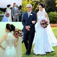 Wholesale elegant halter lace wedding dress for sale - 2019 High Neck Wedding Dresses Elegant Sleeveless White Lace Long Mermaid Bridal Gowns Garden Wedding Outdoor Custom Made