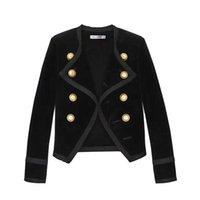 schwarze samtmantel frauen großhandel-2019 neue Landebahn Design Frauen gekerbte Kragen kurze Jacke Mantel Winter Zweireiher Anzug weiblicher Samt schwarz schlank Outwear