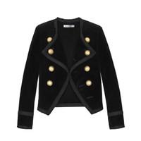 ingrosso women s black velvet jacket-2019 New Runway design Women Notched Collar Giacca corta Cappotto Inverno doppiopetto Abito donna Velluto Nero Capispalla slim