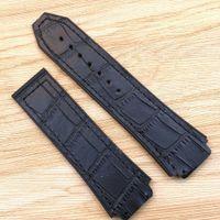 grande borracha preta venda por atacado-25mm / 22mm boa qualidade moda pulseira de borracha de couro de bambu preto para clássico fusão 44-45mm hb big bang