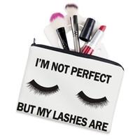 maquiagem cosméticos sacos grande venda por atacado-Cílios Branco 3D Impressão Maquiagem Saco Neceser Caso Cosméticos Sonho Grande Moda Feminina Trousse De Maquillage Organizador Caixa De Lápis