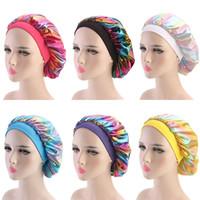 chapéus muçulmanos venda por atacado-Mulheres muçulmanas Ampla Trecho De Cetim De Seda Respirável Bandana Sleeping Chapéu Do Turbante headwrap Bonnet chemo cap Acessórios Para o Cabelo