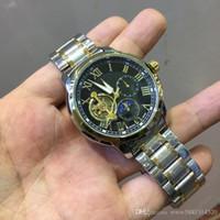ingrosso orologi svizzeri-Orologio automatico Tourbillon Switzerland designer Mens Orologi Full Steel uomo meccanico-orologi orologi maschili Uomo Orologio da polso Relogio Masculino