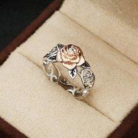 çiçek gül nişan yüzüğü toptan satış-10pcs / sürü Nefis İki Ton Çiçek Yüzük Katı 14k Rose Gold Moda Çiçek Takı Önerisi Yıldönümü Hediyesi Nişan Alyans Yüzük
