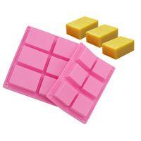 Wholesale rectangle soap mould resale online - 6 Case Rectangle Soap Mold Silicone Pink Color Durable Heat Resistant High Quality Baking Moulds W9775