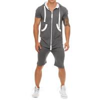 erkekler romper toptan satış-Yaz Rahat Erkekler Eşofman Tulum Erkek Egzersiz Tulum Kısa Kollu Kazak Hoodies ve Joggers Şort Romper Sportwear