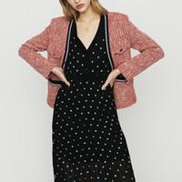 chaqueta de damas dulce al por mayor-2019 Primavera Verano Nueva Chaqueta Casual Sweet Lady Escote en V Escudo Superior Chaquetas M1516