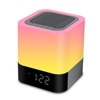 ingrosso lampada da comodino sensore touch-Altoparlanti Bluetooth All In 1 Touch Sensor Lampada da comodino / mp3 Lettore musicale Sveglia Led Sveglia con luce notturna