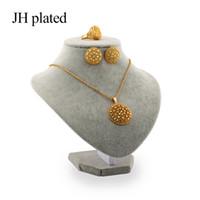 joyas de boda del medio oriente al por mayor-JHplated Conjuntos de joyas de color oro de la moda africana mujeres mejores regalos Partido de boda collar y pendientes conjuntos de anillos para oriente medio