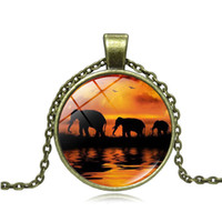 Wholesale twilight pendants resale online - Cross border hot accessories Twilight elephant time gemstone necklace Glass alloy pendant small gift custom pieces from small