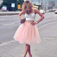 pembe iki parçalı balo elbisesi toptan satış-Liyuke Klasik Pembe Straplez A Hattı Homecoming Elbise Spagetti Kayışı Backless Balo elbise Kısa Kokteyl Mezuniyet İki Adet Parti Elbiseler