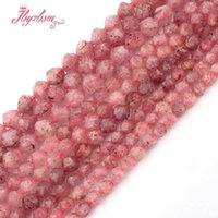 natürliche quarzperlen facettiert großhandel-6,8,10mm Facettierte Erdbeerquarz Perle Naturstein Perlen Für Halskette Bracelats Ohrringe Schmuck Machen 15