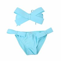 bandeau bikini mädchen großhandel-Mädchen Bikini Frauen Schwarz Badebekleidung Feste Badebekleidung Brasilianische Big Bow Bandeau Beach Wear Badeanzug Push Up Badeanzug Neu