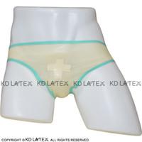 cruz de jade branco venda por atacado-Transparentes Sexy Latex calcinhas com White Cross e jade verde guarnições de borracha Calcinhas Shorts Cuecas Underwear DK-0136