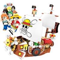 tek parça oyuncak toptan satış-Tek Parça Pivate Gemi Bin Güneşli Soyguncu Luffy Nami Zoro Sanji Chopper Franky Robin Brook Usoop Yapı Taşları Tuğla Eylem Şekil Oyuncak