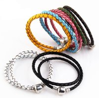 Wholesale 925 jewelry marking resale online - High Quality Fine Jewelry Woven Genuine Leather Bracelet Mix Size Silver Clasp Bead Fits Pandora Charms Bracelet Diy Marking