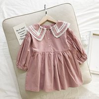 Wholesale best solid doll for sale - Group buy Best selling boutique spring and autumn new long sleeved girls dresses Western lace collar doll skirt children s princess dress