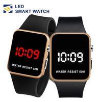 espejo led reloj deportivo al por mayor-Moda LED Relojes Hombres Mujeres Deportes Relojes de pulsera digitales Calendario Fecha Silicona reloj impermeable Espejo Reloj despertador Reloj de pulsera