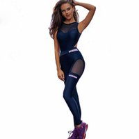 ropa ajustada sexy al por mayor-2019 One Piece Sexy Mujeres Gimnasio Ropa de Fitness Traje de Secado Rápido Elástico Fitness Medias Corriendo Tight Jumpsuits Deportes Yoga Sets
